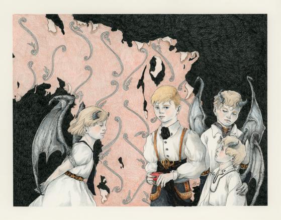 """New Friends, colour-pencils & microns, 11x14"""", 2016"""