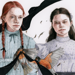 """Kindred Spirits (Anne of Green Gables), colour-pencils & markers on paper, 6x10"""", 2017"""