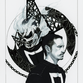 """Robbie Reyes Ghost Rider, markers & microns on paper, 7x11"""", 2017"""
